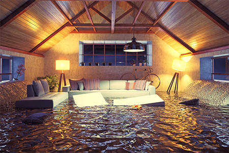 A home in need of water damage restoration