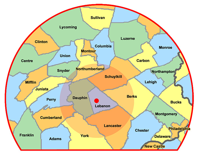 Xtreme Home Improvement Service Coverage Area Map